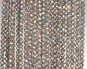 3mm Iron Pyrite Gemstone Grade AAA Micro Faceted Fine Round 3mm Loose Beads 15.5 inch Full Strand (90190667-147)