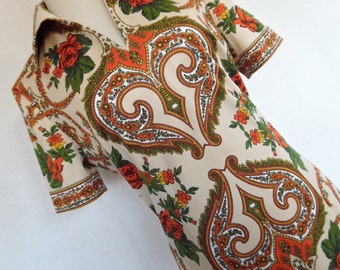 SALE :) RENAISSANCE ROSES . Superb Baroque Colorful Rococo Paisley Rose Print Midi Dress 70s L
