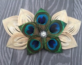 Ivory and Natural Peacock Feather Flower clip with rhinestones and pearl center