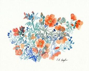watercolor wildflowers, blue and orange, original watercolor painting, boho decor, watercolor flowers, floral painting, orange wildflowers
