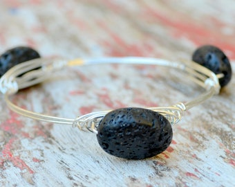 Wire and Lava Bead Bangle, Silver or Gold Colored Wire and Lava Beads, Other Beads Available, 4+ Bangle Sizes, Gift Boxed