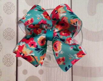 Turquoise poppy hair bow, poppy hair bow, poppy flower, turquoise bow, girls hair clip, red poppy clip, turquoise and red bow, flower bow