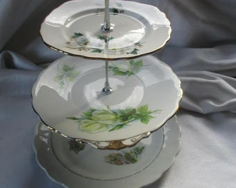 Beautiful greens. three tier china cake stand, made from recycled vintage plates.