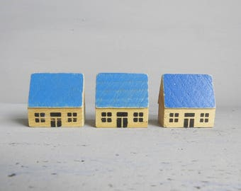Dregeno Wooden Blue Roof Houses - Eastern Germany Wooden Miniature Houses