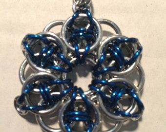 Blue Celtic Star Chainmail Necklace on 22 in chain