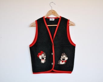 Vintage Chip & Dale Disney Squirrels Patches Waistcoat Hunter Green Boiled Wool Cardigan Vest with Metal Buttons and Red Trim