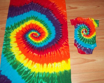 Tie dye onesie and blanket set, all sizes, Rainbow Spiral, tie dye baby onesie set