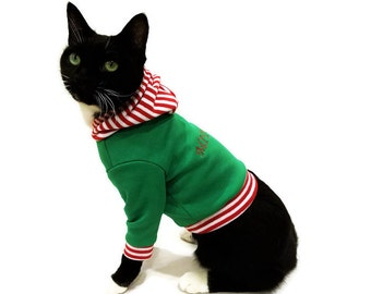 Personalized Christmas Cat Hoodie - Christmas Cat Sweater - Cat clothes cat Shirt cat sweatshirt  cat sweater