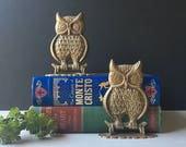 Brass Owl Bookends // Vintage Pair // Hollywood Regency Mid Century Decor // Animal Book Ends, Mid Century Modern, Bohemian Home, Brass