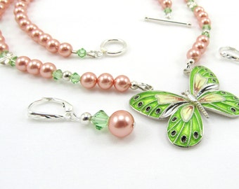 Women's Jewelry, Butterfly Necklace, Swarovski Beaded Necklace, Sterling Silver Cloisonne Butterfly Pendant, Necklace and Earrings Set
