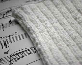 L PICC Line / IV Cover (Armband) White, neutral, crisp, clean, bright, intravenous cover, chemo, lyme, TPN, hand knit, cotton, elastic, soft