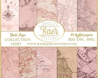 Antique Map Digital Paper, Vintage Map Digital Paper, Blush Map Digital Paper, Pink Map Digital Scrapbook Paper, Caribbean Map Digital Paper