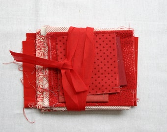 Red Scrap Pack - Destash Clearance Fabric - (180g) Quilting Cottons - Red Mix