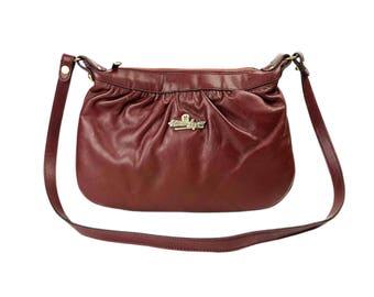 Vintage Etienne Aigner Shoulder Bag - 80s Designer Burgundy Brown Leather Purse, Zip Closure, Signature Interior Lining, Brass Logo Hardware