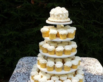 Cupcake Stand, Cupcake Tower, 5 Tier Stand, Shabby Chic Wedding, Wood Cupcake Stand, Round Cupcake Stand, Wedding Cupcake Stand
