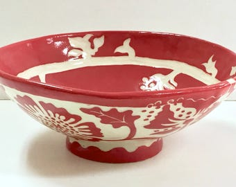 SECONDS! Sale Price! Ceramic FLORAL Bowl #1 Stoneware - SGRAFFITO Carved - Flower Design