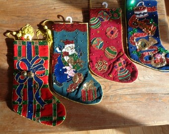 SPARKLE AND SHINE with these Vintage Hand Beaded and Hand Sequined Velvet and Cotton Lined Christmas Stockings in Mint Condition