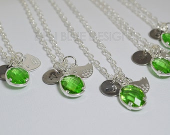 Peridot Personalized Necklace, Green Crystal Charm Necklace, Bird Charm Necklace, Peridot Pendant Crystal Necklace, Green Bridesmaid Jewelry
