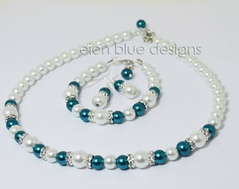 White and Teal Pearl Necklace, White Pearl Jewelry set, Teal & White Beaded Necklace, White and Teal Wedding, Teal Pearl Jewelry Set