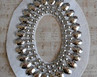 Silver Beaded Applique