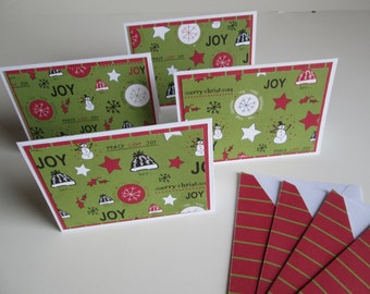 Blank Christmas cards >> set of 4 //Note Cards//Blank Note Cards//Christmas Cards//Blank Christmas Cards//Stationary Set//Card Set