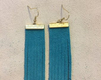 Turquoise suede tassel earrings