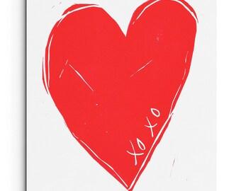 Heart - Minimalist Modern XOXO Heart Print - Love Print - Wall Art - Linocut Block Print - Original or Digital Print