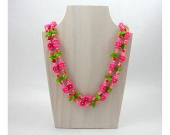 """Vintage 1960s long pink plastic flower bead necklace, double strand, green, white, red, costume jewelry, 50"""" inch, Hong Kong, spring, summer"""