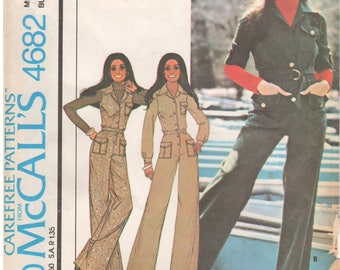 1975 - McCalls 4682 Vintage Sewing Pattern Size 10 Bust 32 1/2 Marlos Corner Jumpsuit Yoke Button Down Pockets Collar Sleeveless Belt