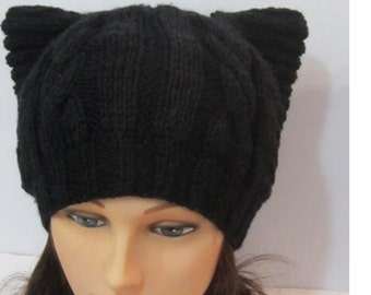 Black Cat Hat Pussyhat Knitted Cat Ears Hat Pussycat Hat Black Cats Beanie Kitty Hat Black Kitty Beanie Cat Ears Hat Beanie, Knit Pussyhat
