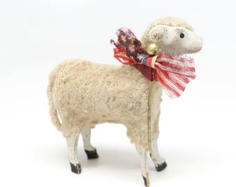 Antique Patriotic 1930's German 2 1/4 Inch Wooly Sheep, for Putz or Christmas Nativity, American Flag, 4th of July