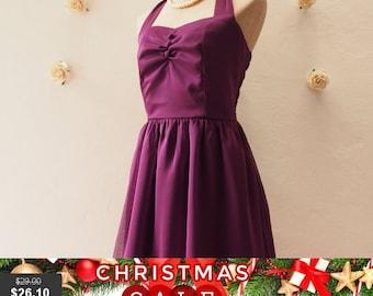 Christmas SALE SALE Dress in Purple Party Dress Eggplant Bridesmaid Dress Purple Evening Dress Halter Dress Vintage Wedding Prom Dress -S...