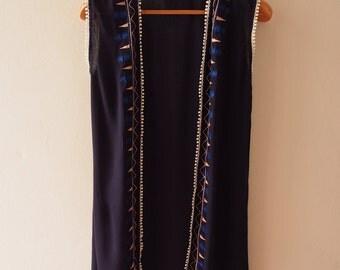 Navy Embroidery Cardigan Boho Ponchos Hippie Style Long Cardigan Free Size