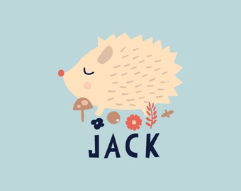Personalized Baby Gift Art Print Hedgehog