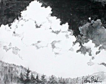 """Original Graphite Cloud Drawing, Works on Paper, """"Clouds Above the Mountains"""" 11x14"""