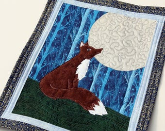 Moon Gazing Fox Quilted Wall Hanging / Mini Art Quilt