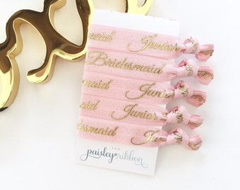 Junior Bridesmaid hair ties (5), will you be my Junior Bridesmaid, junior bridesmaid gift, junior bridesmaid proposal box,jr bridesmaid