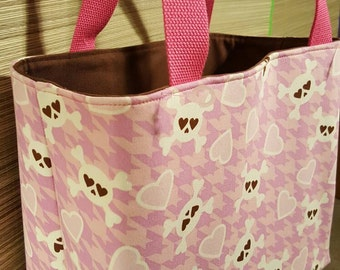 Crossbones on pink tote