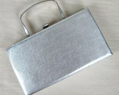 Vintage 1950s Shiny Silver Evening Clutch by Ande 50s Metallic Silver Vinyl Clutch