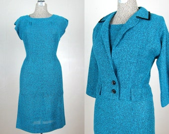 Vintage 1950s Dress and Jacket Set 50s Teal and Black Wool Woven Sheath and Cropped Jacket Size M