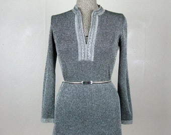 Vintage 1960s Lurex Blouse 60s Metallic Silver and Black Tunic by LeRoy Size M