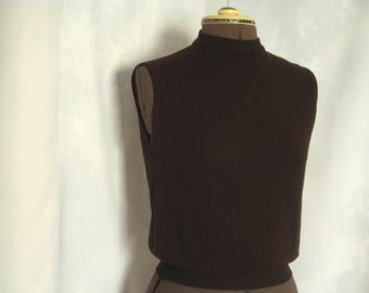 Ilene Ricky Vintage Chocolate Brown sleeveless sweater, 1960's zip back nylon sweater vest