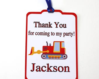 Set of 12 Thank You Party Favor Tags, Construction Trucks Personalized Birthday Party Favors Tags Thank You Gift Tags, Party Supplies