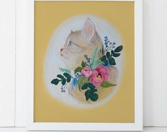 Kitten Botanical Art Print 11x14 Colorful Nursery Decor
