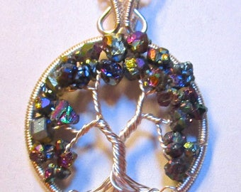 Titanium Coated Druzy Tree of Life Necklace & Chain Included