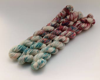 Variegated Minis, 20 Grams, 92 yards each, Work Horse Sock, Super Wash Merino Wool, Nylon, Quip