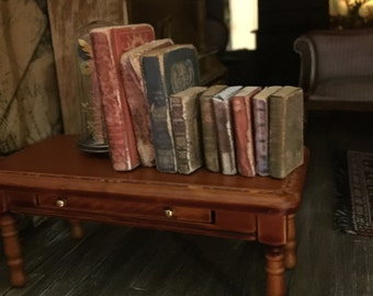 Miniature handmade shabby chic doll house books