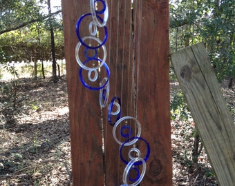 blue clear, GLASS WINDCHIMES from RECYCLED bottles, eco friendly, garden decor, wind chimes, mobiles, musical, windchimes