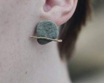 Grey Stone Stud Earrings