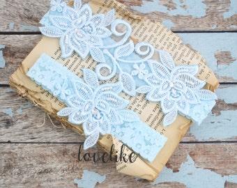 Wedding Garter Set ,Light Blue Beaded Flower Lace Wedding Garter , Light blue Lace Garter , Toss Garter , Bridal Wedding Garter